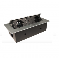 Розетка откидная GLS G16128 (2 EURO + 2 USB) (Серебро)