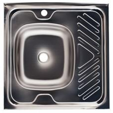 Мойка накладная КРОНА, 600х600х0.4 мм. (Правая)