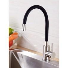 Смеситель для кухни OUTE, нержавеющая сталь, гибкий черный излив (T40193B-2)