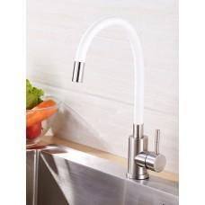 Смеситель для кухни OUTE, нержавеющая сталь, гибкий белый излив (T40193B)