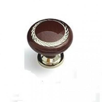 1707 Ручка-кнопка К4 (Коричневый+Хром)
